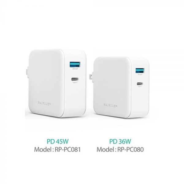 pc 081.2 600x600 - شارژر دیواری دو پورت ۴۵ وات روپاور مدل RP-PC081