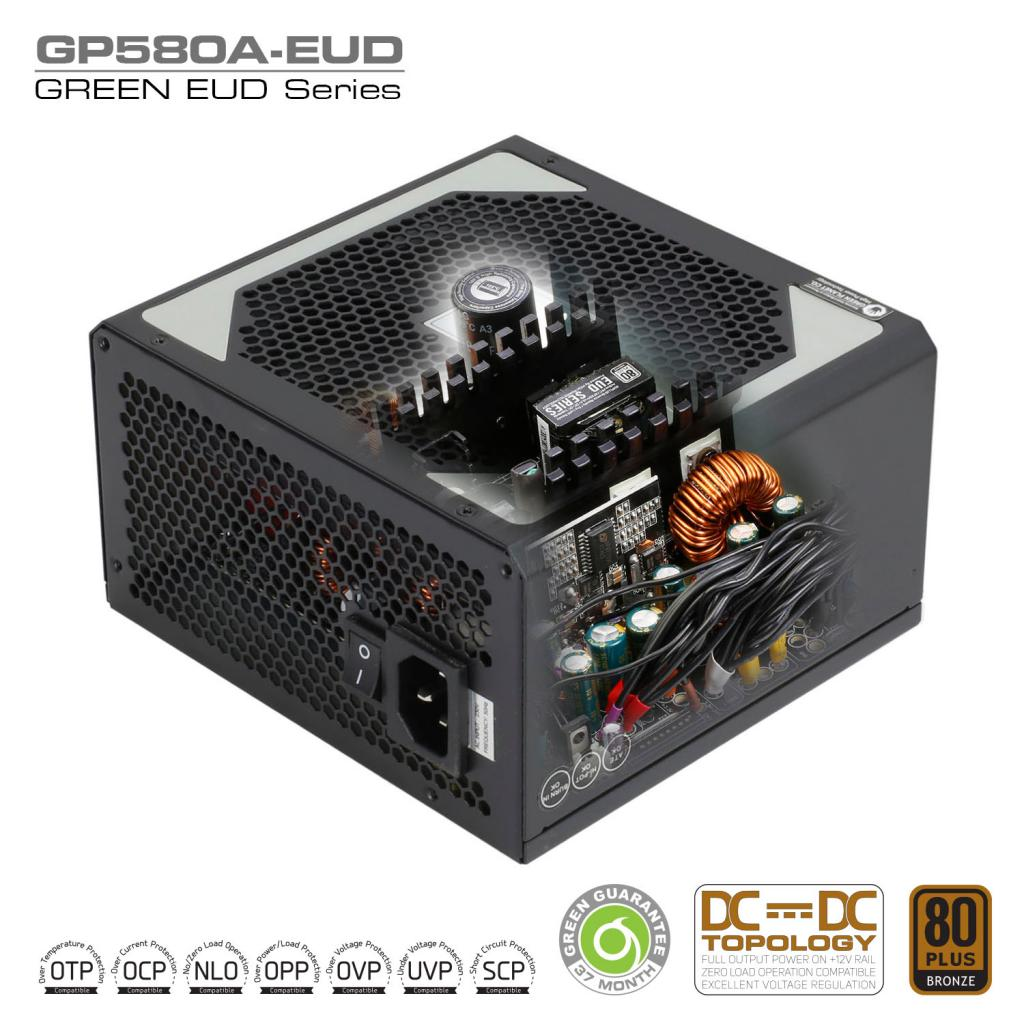 GP580A EUD DC to DC Power Supply Inside - منبع تغذیه کامپیوتر گرین مدل GP580A-EUD