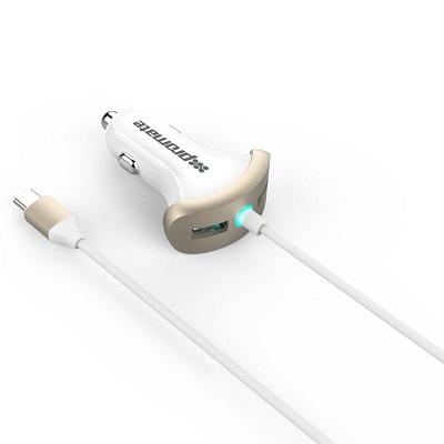 شارژر فندکی 7.2 آمپر با دو پورت USB3.0 و یک خروجی Type-C