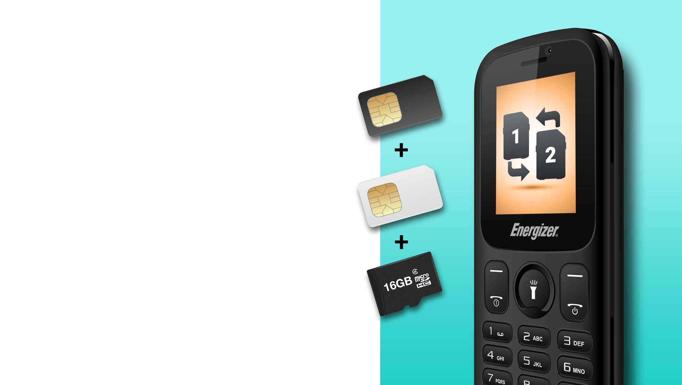 1 AT E10plus sim - گوشی موبایل انرجایزر مدل Energy E10 Plus دو سیم کارت