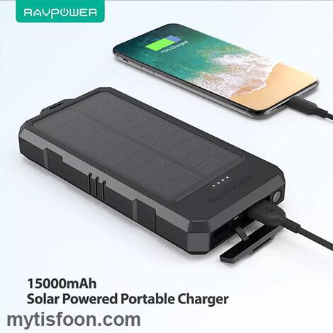 RAVPower Solar Portable Charger 15000mAh Power Bank RP PB124 Black 5 - پاوربانک ۱۵۰۰۰ میلی آمپر راوپاور مدل RP- PB124